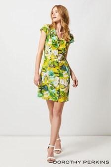 e8dd6274f5b Dorothy Perkins Curve Leaf Print Button Through Dress