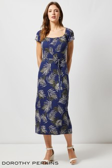 Dorothy Perkins Tropical Palm Midi Dress