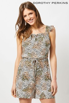 Dorothy Perkins Frill Strap Animal Print Playsuit