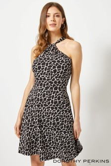 Dorothy Perkins Animal Print Twist Neck Skater Dress