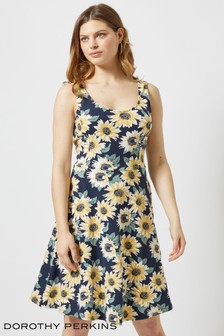 Dorothy Perkins Sunflower Print Seamed Fit And Flare Dress