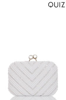 Quiz Diamanté Pearl Beaded Bag