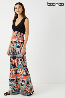 Boohoo Wrap Neck 2-in-1 Maxi Dress