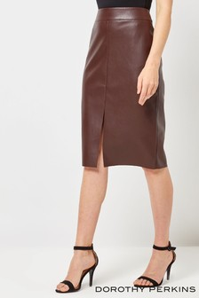 Dorothy Perkins PU Slit Pencil Skirt