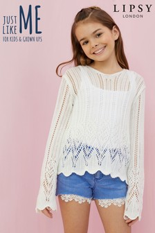 Lipsy Girl Crochet Knit Lightweight Jumper
