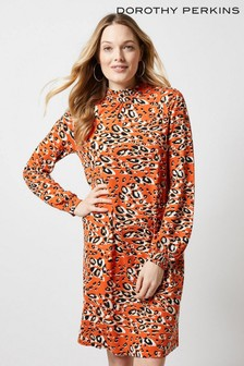 80a72e67616 Dorothy Perkins Animal Shirred Neck Shift Dress