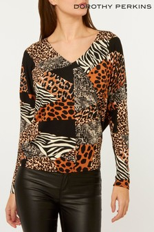 Dorothy Perkins Tall Jersey Animal Cut-Out Batwing Top
