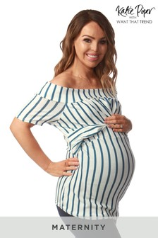 Want That Trend Maternity Striped Bardot Top