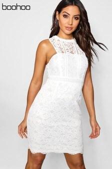 Boohoo Lace Halter Bodycon Dress