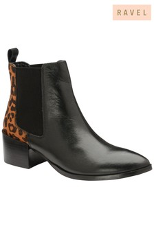Ravel Leather Leopard Ankle Boot