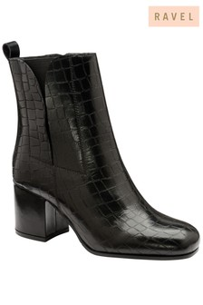 Ravel Croc Print Leather Ankle Boot