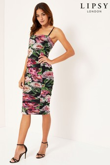 Lipsy Mesh Floral Ruched Dress