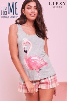 Lipsy Flamingo Print Check Short PJ Set