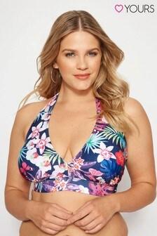 Yours Curve Tropical Print Bikini Top
