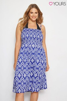 Yours Shirred Ikat Print Multiway Dress