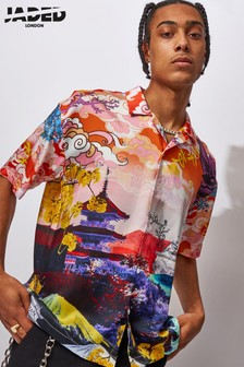 Jaded London Oriental Scene Printed Shirt