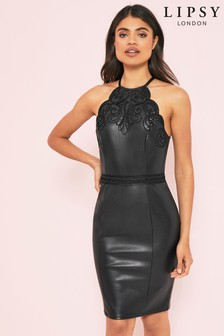 Lipsy Faux Leather Artwork Bodycon Dress