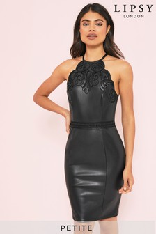 שמלת פטיט צמודה מבד דמוי עור בהדפס אמנות של Lipsy