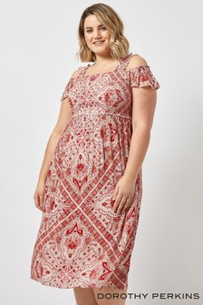 Dorothy Perkins Curve Crinkle Shirred Paisley Midi Dress
