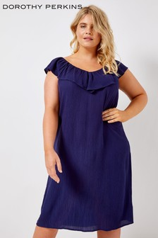 Dorothy Perkins Curve Ruffle On Shoulder Bardot Dress