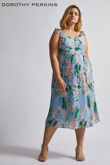 Dorothy Perkins Curve Tropical Print Pleated Midi Dress