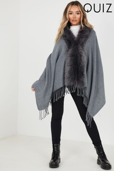 Quiz Faux Fur Collar Cape