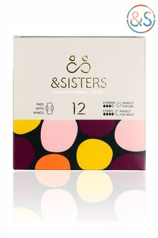 &Sisters | Plastic-free Pads with Wings | Organic | Bio-wrapped | Duo 6 Day 6 Night