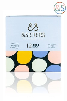 &Sisters   Plastic-free Pads with Wings   Organic   Bio-wrapped   Heavy Night