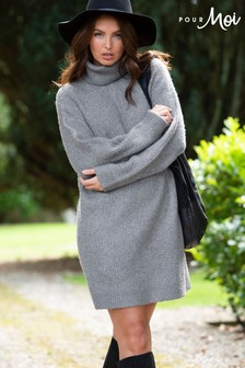 Pour Moi Roll Neck Chunky Knit Dress