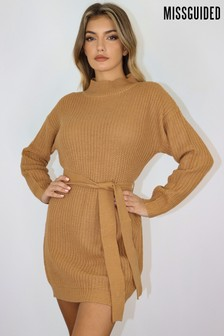 Missguided Roll Neck Basic Dress With Belt