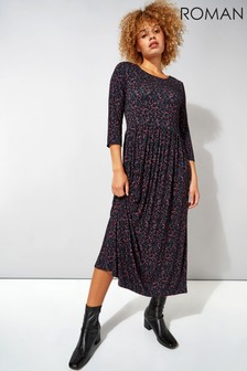 Roman Ditsy Print 3/4 Sleeve Midi Dress