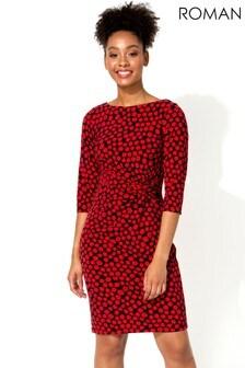 Roman Spot Twist Waist Dress