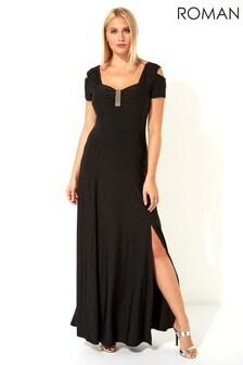 Roman Diamante Cold Shoulder Maxi Dress