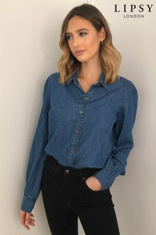 Lipsy Denim Puff Sleeve Shirt