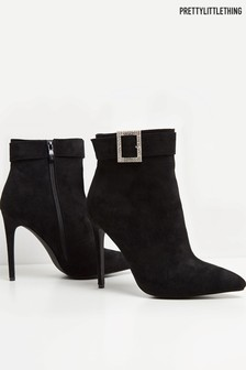 PrettyLittleThing Diamanté Buckle Heeled Ankle Boot