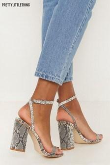 PrettyLittleThing Snake Ankle Strap Blook Heel Sandal