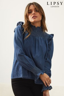 Lipsy Denim Shirred Yoke Top