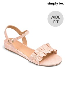 Simply Be Low Wedge Ruffle Wide Fit Sandals
