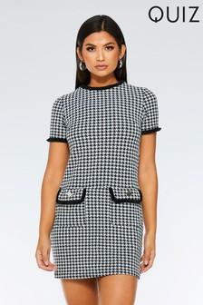 שמלת טוניקה עם שרוולים קצרים בהדפס משובץ של Quiz