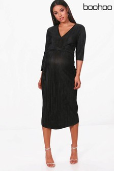 8d64e8ccf6e Boohoo Maternity Pleated Midi Dress