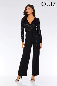 Quiz Sequin Long Sleeve Tie Belt Jumpsuit