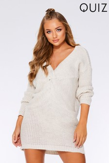 Quiz Knitted Knot Front Long Sleeve Jumper Dress