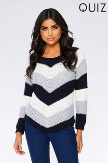 Quiz Knitted Chevron Stripe Jumper
