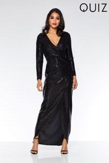 Quiz Sequin Long Sleeve Maxi Dress