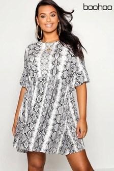 Sukienka z nadrukiem skóry węża Boohoo Curve