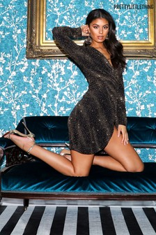 PrettyLittleThing Glitter Wrap Mini Dress