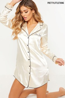 PrettyLittleThing Satin Embroidered 'Day Dreamer' Night Shirt