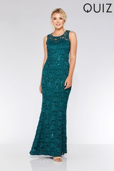 Quiz Lace Sequin Fishtail Maxi Dress