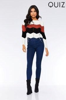 Quiz Jeans mit hohem Bund und Knopfdetail