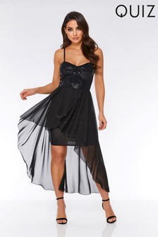Quiz Sequin And Mesh Dip Hem Dress